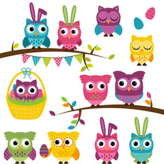 Vector Collection of Easter and Spring Themed Owls