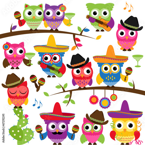 Cinco de Mayo Themed Collection of Owls and Branches  - 67292241