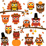 Thanksgiving and Autumn Themed Vector Owl Collection with Branch