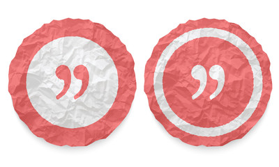 two icons with texture crumpled paper and quotation mark
