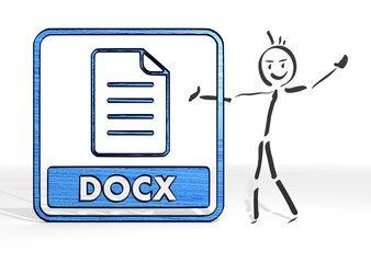 stick man presents docx symbol