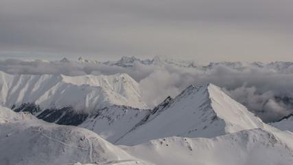 Swiss Alps mountain ridges bad weather 4K