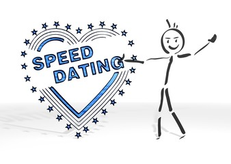 stick man presents speed dating sign