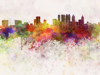 Atlanta skyline in watercolor background