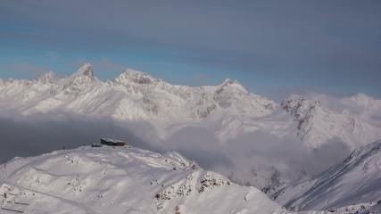 Mountain top ski lift station Ischgl time lapse 4K