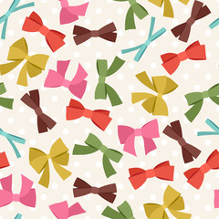 Seamless pattern with abstract various bows and ribbons.