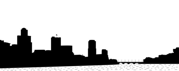 Silhouette of the town.