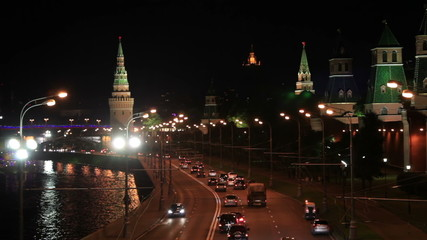 Moscow Kremlin at night. Bokeh lights.