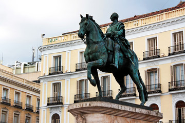 Madrid, Spain. Equestrian statue of Charles III