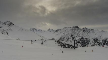 Ischgl Alpine ski resort Tirol Austria chairlift time lapse 4K