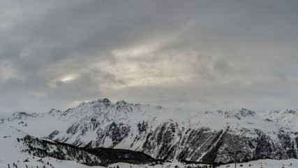 Mountains above Ischgl ski resort winter time lapse 4K