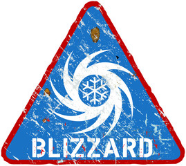 blizzard warning sign, heavy weathered, vector eps 10