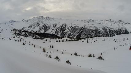 Ischgl ski resort Tirol slopes and chairlift tracking 4K