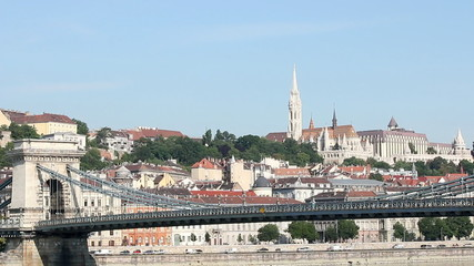Chain bridge and Fisherman bastion towers Budapest Hungary