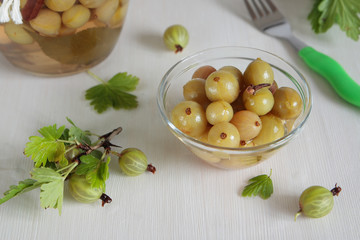 Marinated green gooseberries