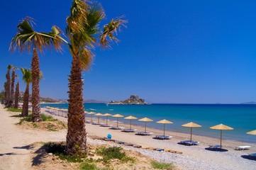 Sunny beach with umbrellas