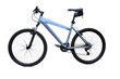 blue mountain bike isolated over white background