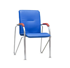 The office chair from blue leather. Isolated