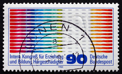 Postage stamp Germany 1980 Oscilogram Pulses and Ear