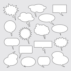 Text balloons. Collection of vector speech bubbles for comics.
