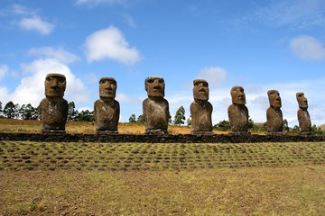 Moai at Easter Island, Chile