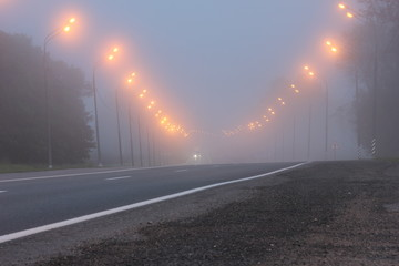 Morning road in lights