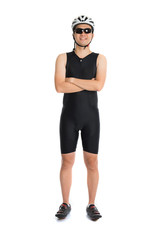 portrait of asian male triathlete with cycling gears