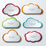 Vector modern clouds banners set.