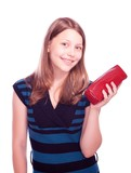 Teen girl holding cosmetician poster