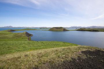 Pseudocraters at Skutustadir surrounding lake Myvatn, Iceland