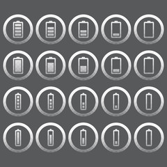 Vector of transparent icon, battery set