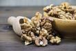 Walnuts in wooden bowl