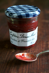 Strawberry jelly jam or marmalade in a jar