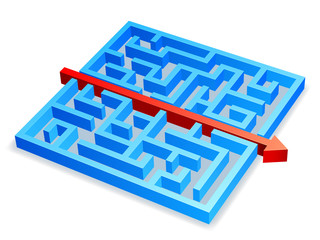 Red arrow breaking through blue maze.