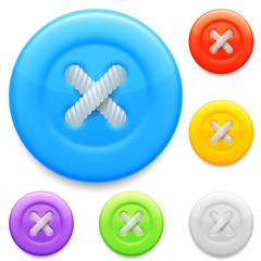 Set of 6 color clothing buttons.