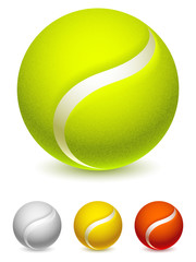Set of 4 color tennis balls.