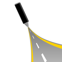 gray felt pen with road vector