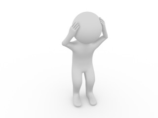 Sad 3d man standing on white background