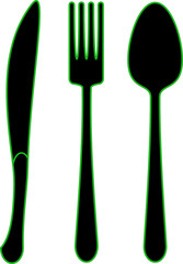 Spoon fork dinner knife - black icons with green outline