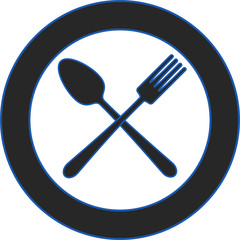 Spoon fork plate - blue icon in the style