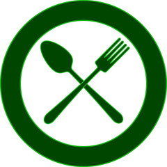 Spoon fork plate - green icon in the style