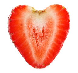 Heart-shaped strawberry isolated on white