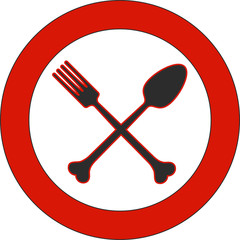 Plate with a spoon and fork, deadly diet | crossbones