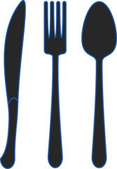Spoon fork dinner knife - black icons with blue outline