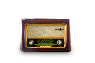 Old radio vintage isolated on white background