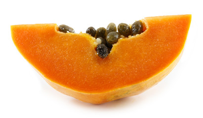 sliced papaya isolated on a white background