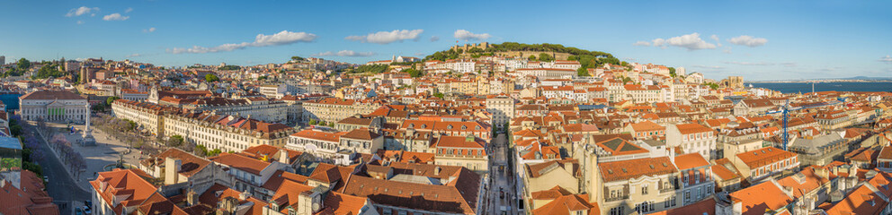 Panorama view of Lisbon downtown in the afternoon with sao jorge