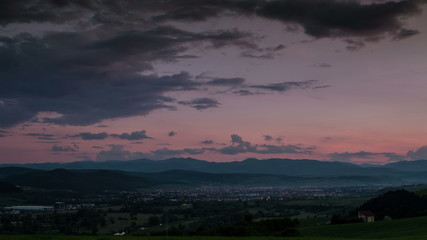 Transylvania Floresti village sunset time lapse 4K