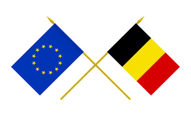 Flags, Belgium and European Union