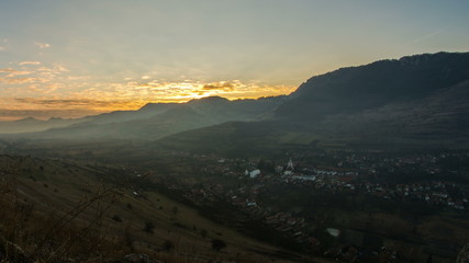 Apuseni mountains Remetea village sunset time lapse 4K